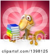 Clipart Of A 3d Yellow Gecko Lizard Holding Books Royalty Free Illustration