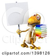 Clipart Of A 3d Yellow Gecko Lizard Holding Books On A White Background Royalty Free Illustration by Julos