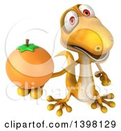 Clipart Of A 3d Yellow Gecko Lizard Holding A Navel Orange On A White Background Royalty Free Illustration