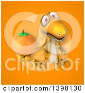 Clipart Of A 3d Yellow Gecko Lizard Holding A Navel Orange Royalty Free Illustration