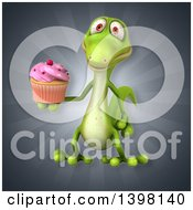 Clipart Of A 3d Green Gecko Lizard Holding A Cupcake Royalty Free Illustration