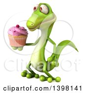Clipart Of A 3d Green Gecko Lizard Holding A Cupcake On A White Background Royalty Free Illustration