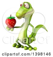 Clipart Of A 3d Green Gecko Lizard Holding A Strawberry On A White Background Royalty Free Illustration