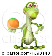 Clipart Of A 3d Green Gecko Lizard Holding A Navel Orange On A White Background Royalty Free Illustration