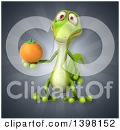 Clipart Of A 3d Green Gecko Lizard Holding A Navel Orange Royalty Free Illustration