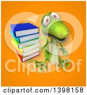 Clipart Of A 3d Green Gecko Lizard Holding Books Royalty Free Illustration