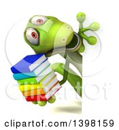 Clipart Of A 3d Green Gecko Lizard Holding Books On A White Background Royalty Free Illustration