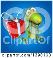 Clipart Of A 3d Green Gecko Lizard Holding A Gift Royalty Free Illustration