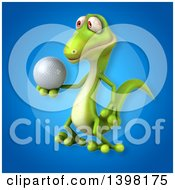 Clipart Of A 3d Green Gecko Lizard Holding A Golf Ball Royalty Free Illustration
