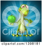 Clipart Of A 3d Green Gecko Lizard Holding A Green Apple Royalty Free Illustration