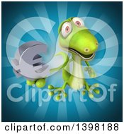Clipart Of A 3d Green Gecko Lizard Holding A Euro Symbol Royalty Free Illustration