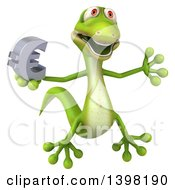 Clipart Of A 3d Green Gecko Lizard Holding A Euro Symbol On A White Background Royalty Free Illustration