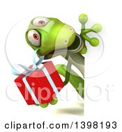 Clipart Of A 3d Green Gecko Lizard Holding A Gift On A White Background Royalty Free Illustration
