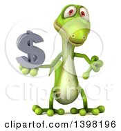 Clipart Of A 3d Green Gecko Lizard Holding A USD Symbol On A White Background Royalty Free Illustration