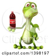 Clipart Of A 3d Green Gecko Lizard Holding A Soda On A White Background Royalty Free Illustration