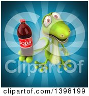 Clipart Of A 3d Green Gecko Lizard Holding A Soda Royalty Free Illustration