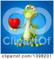 Clipart Of A 3d Green Gecko Lizard Holding A Heart Royalty Free Illustration