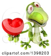 Clipart Of A 3d Green Gecko Lizard Holding A Heart On A White Background Royalty Free Illustration