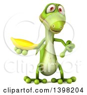 Clipart Of A 3d Green Gecko Lizard Holding A Banana On A White Background Royalty Free Illustration