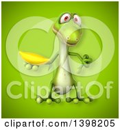 Clipart Of A 3d Green Gecko Lizard Holding A Banana Royalty Free Illustration