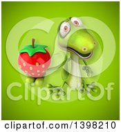 Clipart Of A 3d Green Gecko Lizard Holding A Strawberry Royalty Free Illustration