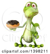 Clipart Of A 3d Green Gecko Lizard Holding A Donut On A White Background Royalty Free Illustration