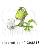 Clipart Of A 3d Green Gecko Lizard Holding A Tooth On A White Background Royalty Free Illustration