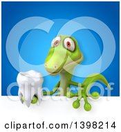 Clipart Of A 3d Green Gecko Lizard Holding A Tooth Royalty Free Illustration