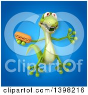 Clipart Of A 3d Green Gecko Lizard Holding A Hot Dog Royalty Free Illustration