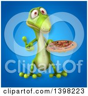 Clipart Of A 3d Green Gecko Lizard Holding A Pizza Royalty Free Illustration