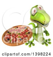 Clipart Of A 3d Green Gecko Lizard Holding A Pizza On A White Background Royalty Free Illustration