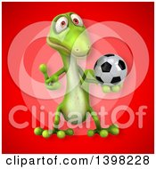 Clipart Of A 3d Green Gecko Lizard Holding A Soccer Ball Royalty Free Illustration