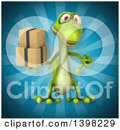 Clipart Of A 3d Green Gecko Lizard Holding Boxes Royalty Free Illustration