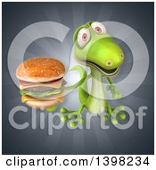 Clipart Of A 3d Green Gecko Lizard Holding A Double Cheeseburger Royalty Free Illustration