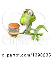 Clipart Of A 3d Green Gecko Lizard Holding A Double Cheeseburger On A White Background Royalty Free Illustration
