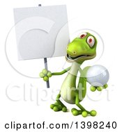 Clipart Of A 3d Green Gecko Lizard Holding A Golf Ball On A White Background Royalty Free Illustration