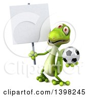 Clipart Of A 3d Green Gecko Lizard Holding A Soccer Ball On A White Background Royalty Free Illustration