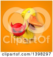 Clipart Of A 3d Yellow Duck Holding A Devil Head Royalty Free Illustration