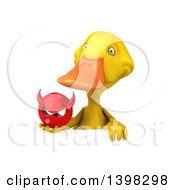 Clipart Of A 3d Yellow Duck Holding A Devil Head On A White Background Royalty Free Illustration