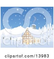 Chalet House In A Snowy Mountain Area Clipart Illustration