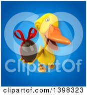 Clipart Of A 3d Yellow Duck Holding A Chocolate Egg Royalty Free Illustration