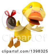 Clipart Of A 3d Yellow Duck Holding A Chocolate Egg On A White Background Royalty Free Illustration