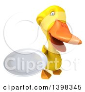 Clipart Of A 3d Yellow Duck Holding A Plate On A White Background Royalty Free Illustration