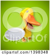 Clipart Of A 3d Yellow Duck Holding A Plate Royalty Free Illustration