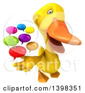 Clipart Of A 3d Yellow Duck Holding Speech Balloons On A White Background Royalty Free Illustration
