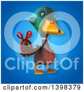 Clipart Of A 3d Mallard Drake Duck Holding A Chocolate Egg Royalty Free Illustration