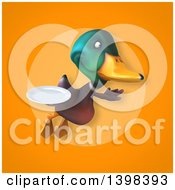 Clipart Of A 3d Mallard Drake Duck Holding A Plate Royalty Free Illustration