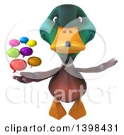 Clipart Of A 3d Mallard Drake Duck Holding Speech Balloons On A White Background Royalty Free Illustration