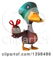 Clipart Of A 3d Mallard Drake Duck Holding A Chocolate Egg On A White Background Royalty Free Illustration