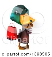 3d Mallard Drake Duck On A White Background
